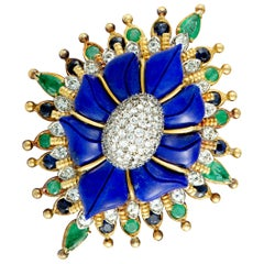 Diamond, Emerald, Sapphire and Lapis Yellow Gold Flower Brooch