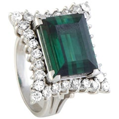 Diamond and Green Tourmaline Platinum Rectangle Ring