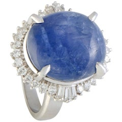 Round and Baguette Diamonds Star Sapphire Cabochon Platinum Ring