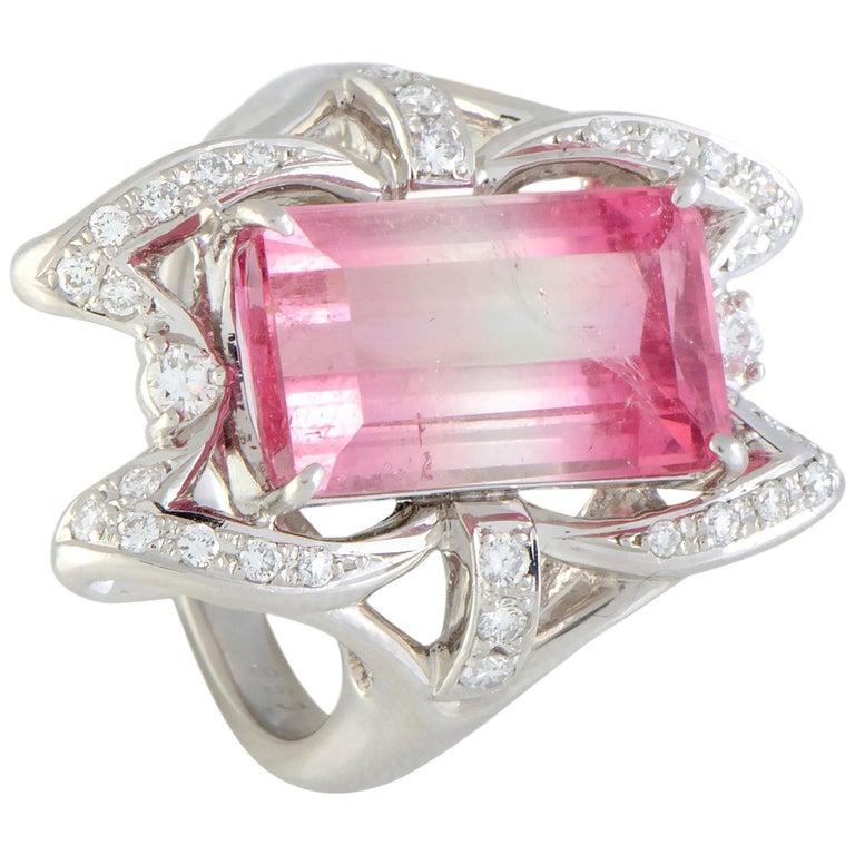 Diamond and Watermelon Tourmaline Platinum Rectangle Ring For Sale