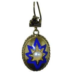 Victorian Yellow Gold Pearl and Blue Enamel Drop Earrings in 14 Karat Gold