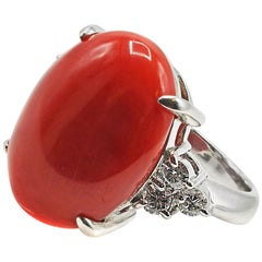 Platinum Diamond Coral Ring