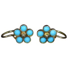 Antique Rose Gold Flower Earrings Set with Sleeping Beauty Turquoise