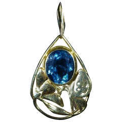 Signed Arts & Crafts Period Blue Topaz Pendant in 14 Karat Yellow Gold