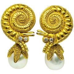 Carolyn Tyler 22 Karat Gold Diamond and Pearl Hermit Crab Dangle Earrings
