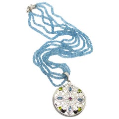 Decadent Jewels Aquamarine Blue Topaz Peridot White Topaz Garnet Silver Necklace
