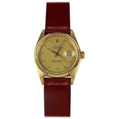 Rolex Yellow Gold Champagne Diamond Dial Datejust Automatic Wristwatch