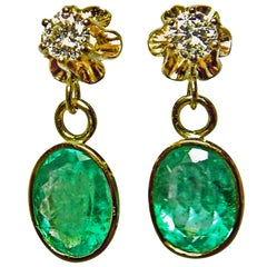 4.60 Carat Estate Natural Colombian Emerald and Diamond Dangle Earrings 18 Karat