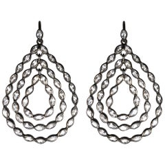 Lauren Harper White Topaz and Black Silver Pear Drop Earrings