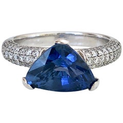 3.76 Carat Sapphire Diamond Engagement Ring 18 Karat White Gold