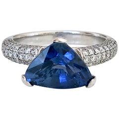 3.76 Carat Sapphire Diamond Ring 18 Karat White Gold