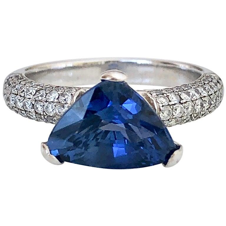 3.76 Carat Sapphire Diamond Engagement Ring 18 Karat White Gold For Sale