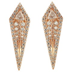 18 Karat Rose Gold and 2.72 Carat Colorless Diamond Arrow Studs Earrings