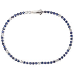 18 Karat Gold, White Diamond and Blue Sapphires Tennis Bracelet, Alessa Jewelry