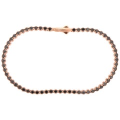 18 Karat Rose Gold and 2.27 Carat Black Diamond Tennis Bracelet, Alessa Jewelry
