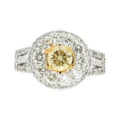 0.66 Karat Certified Fancy 18 Karat White Gold Diamond Engagement Ring