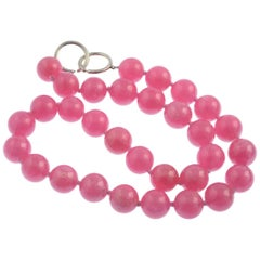 Paloma Picasso for Tiffany & Co. Silver Rhodochrosite Pink Bead Necklace