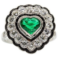 Estate Platinum Emerald Onyx and Diamond Ring
