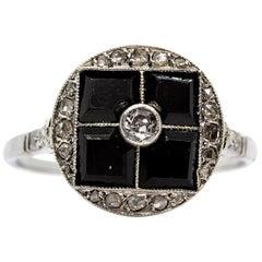 Contemporary Handmade Platinum Diamond and Onyx Ring