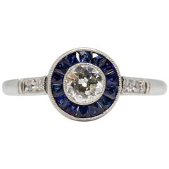 Contemporary Handmade Platinum Diamond and Sapphire Ring