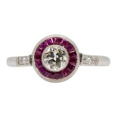 Estate Platinum Diamond and Ruby Ring