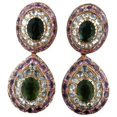 Tourmaline 18 Karat Yellow Gold Sapphires Diamonds Drop Earrings