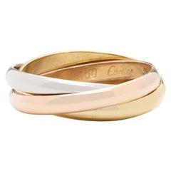 Cartier Tri Color Gold Trinity Medium Size Ring 18 Karat Gold 11.6g