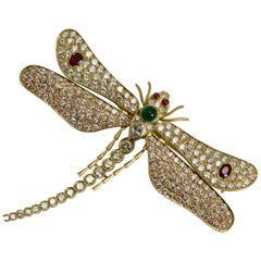 Diamond Rubies Emerald Pink Sapphires Dragonfly Brooch