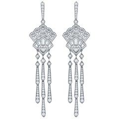 Garrard Fanfare White Gold Chandelier Earrings White Diamond & Mother of Pearl