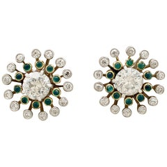 Antique 1920s 3.50 carat Diamond and Emerald Yellow Gold Stud Earrings