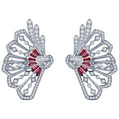 Garrard Fanfare White Gold Climber Earrings White Diamond and Calibre Cut Rubies