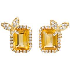 Fei Liu 18 Karat Yellow Gold Diamond-Set Butterfly Stud Earrings