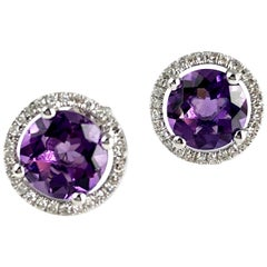 2.34 Carat Fine Amethyst and Diamond Halo Stud Earrings in 14 Karat White Gold