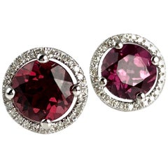 3.48 Carat Raspberry Garnet and Diamond Halo Stud Earrings in 14 Karat Gold