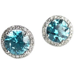2.99 Carat Blue Zircon and Diamond Halo Stud Earrings in 14 Karat White Gold