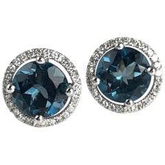 3.24 Carat London Blue Topaz and Diamond Halo Stud Earrings in 14 Karat Gold