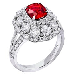Garrard 1.36 Carat GRS Cushion Cut Ruby Ring with White Diamond Surround