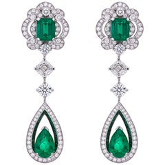 Garrard 18 karat gold Gubelin GRS GIA Pearshape Emerald & Diamond Drop Earrings