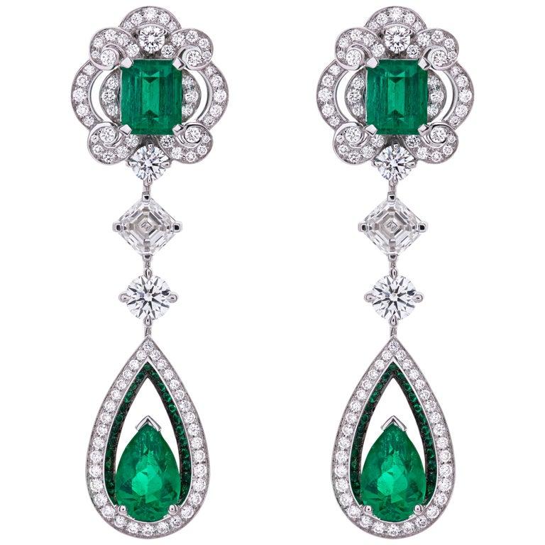 Garrard 18 karat gold Gubelin GRS GIA Pearshape Emerald & Diamond Drop Earrings For Sale
