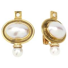 Elizabeth Gage Mabe Pearl Valois Earrings in 18 Karat Yellow Gold