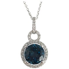 2.45 Carat London Blue Topaz and Diamond Halo Drop Pendant in 14 Karat Gold