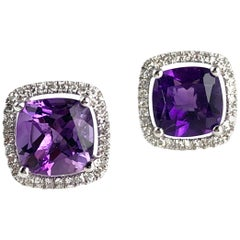 2.76 Carat Fine Amethyst and Diamond Halo Stud Earrings in 14 Karat White Gold