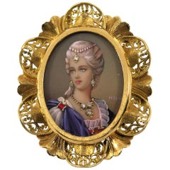 Classical Gold Hand Painted Portrait Pendant/Brooch