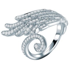 Garrard Wings Embrace 18 Karat White Gold Wrap Ring with Round White Diamond