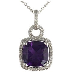 2.20 Carat Fine Amethyst and Diamond Halo Drop Pendant in 14 Karat White Gold