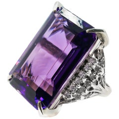 Impressive Rectangular Step Cut Amethyst Platinum Diamond Ring