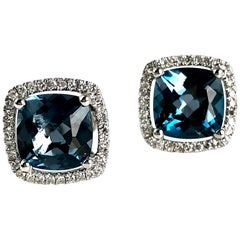 3.73 Carat London Blue Topaz and Diamond Halo Stud Earrings in 14 Karat Gold