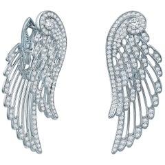 Garrard Wings Embrace 18 karat White Gold Drop Earrings White Diamond