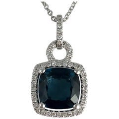 2.30 Carat London Blue Topaz and Diamond Halo Drop Pendant in 14 Karat Gold