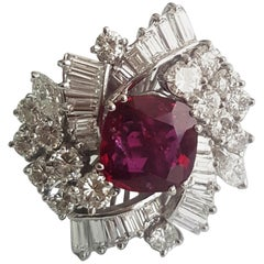 SSEF Certified 2.50 Carat Cushion Natural Ruby 'Heat' and White Diamond Ring